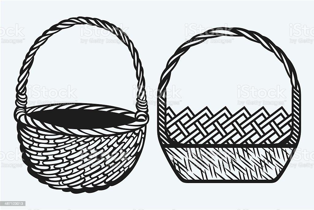 Empty wicker basket vector art illustration