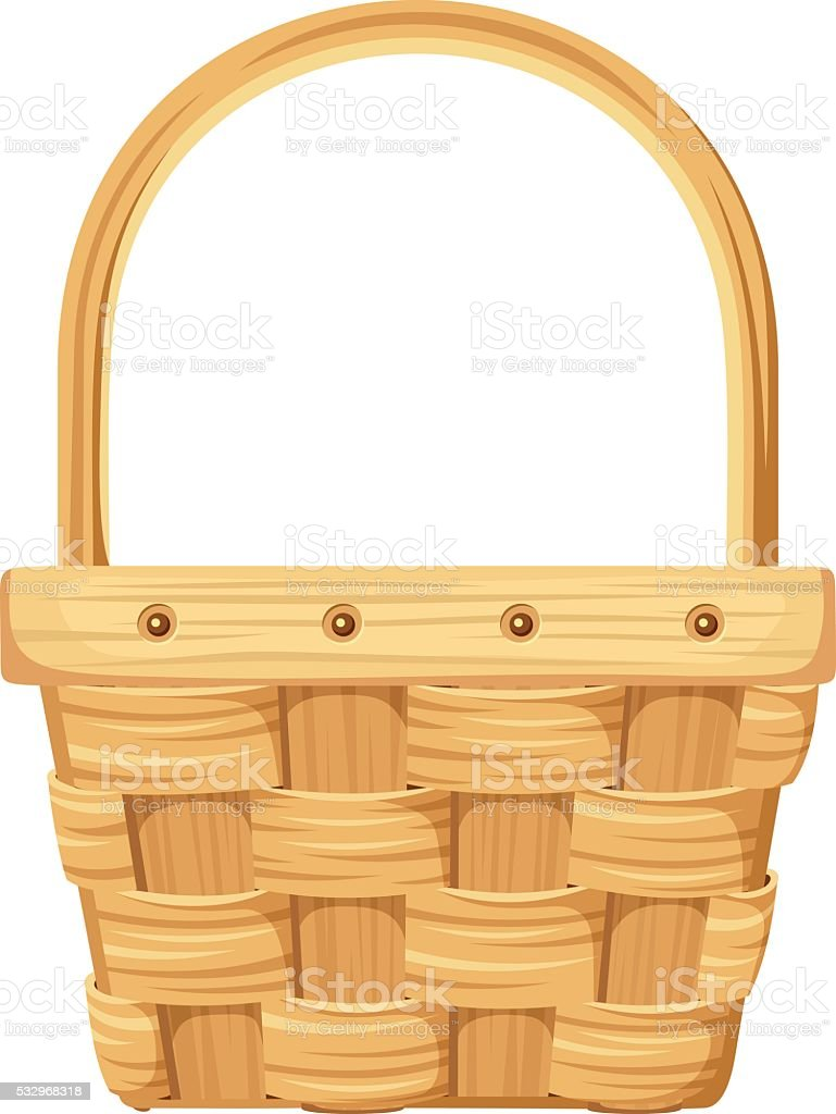 Empty wicker basket. Vector illustration. vector art illustration