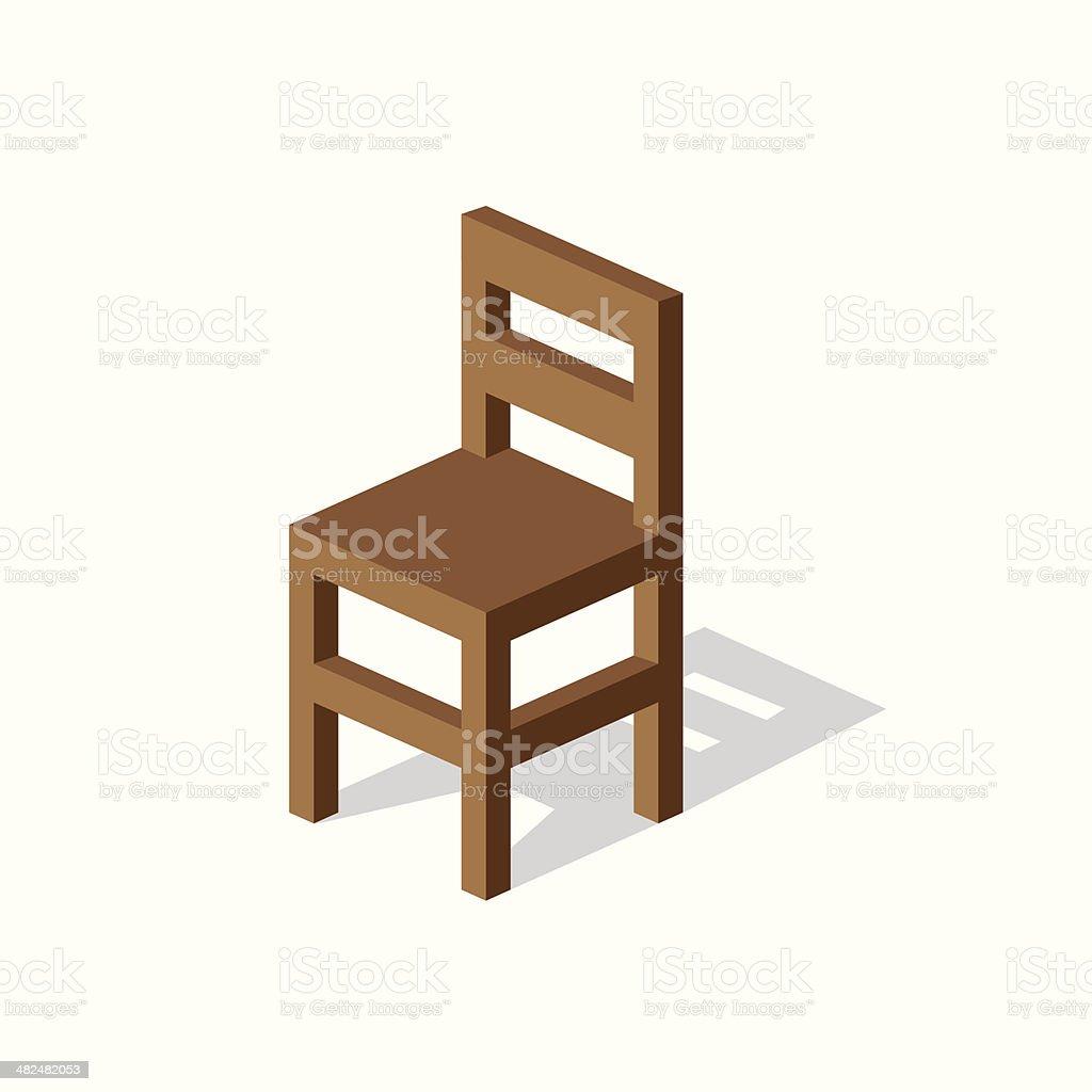 Empty Wooden Chair vector art illustration