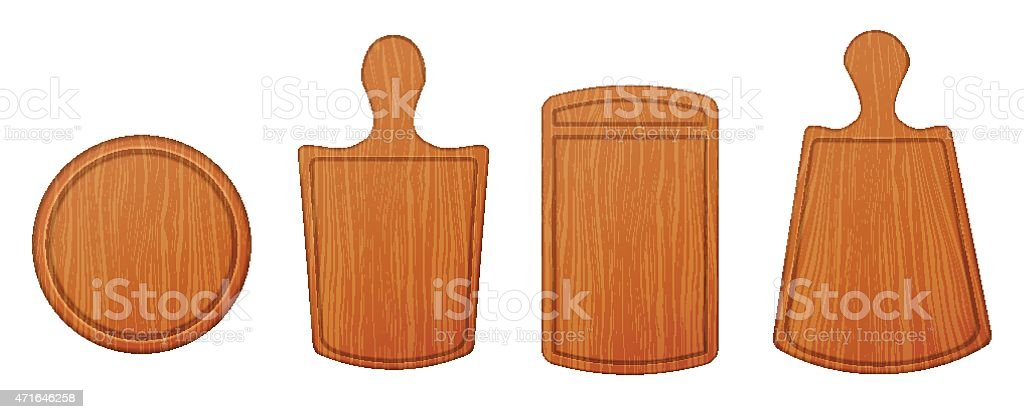 Empty wooden cutting boards and chopping boards vector art illustration