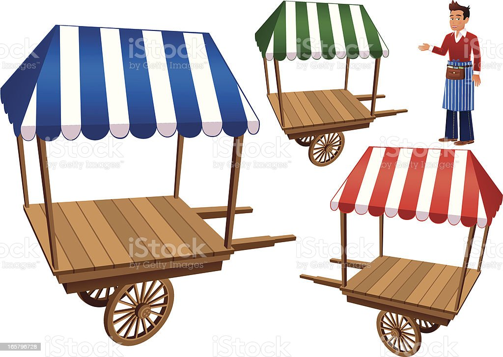 Empty wooden market stalls and trader royalty-free stock vector art