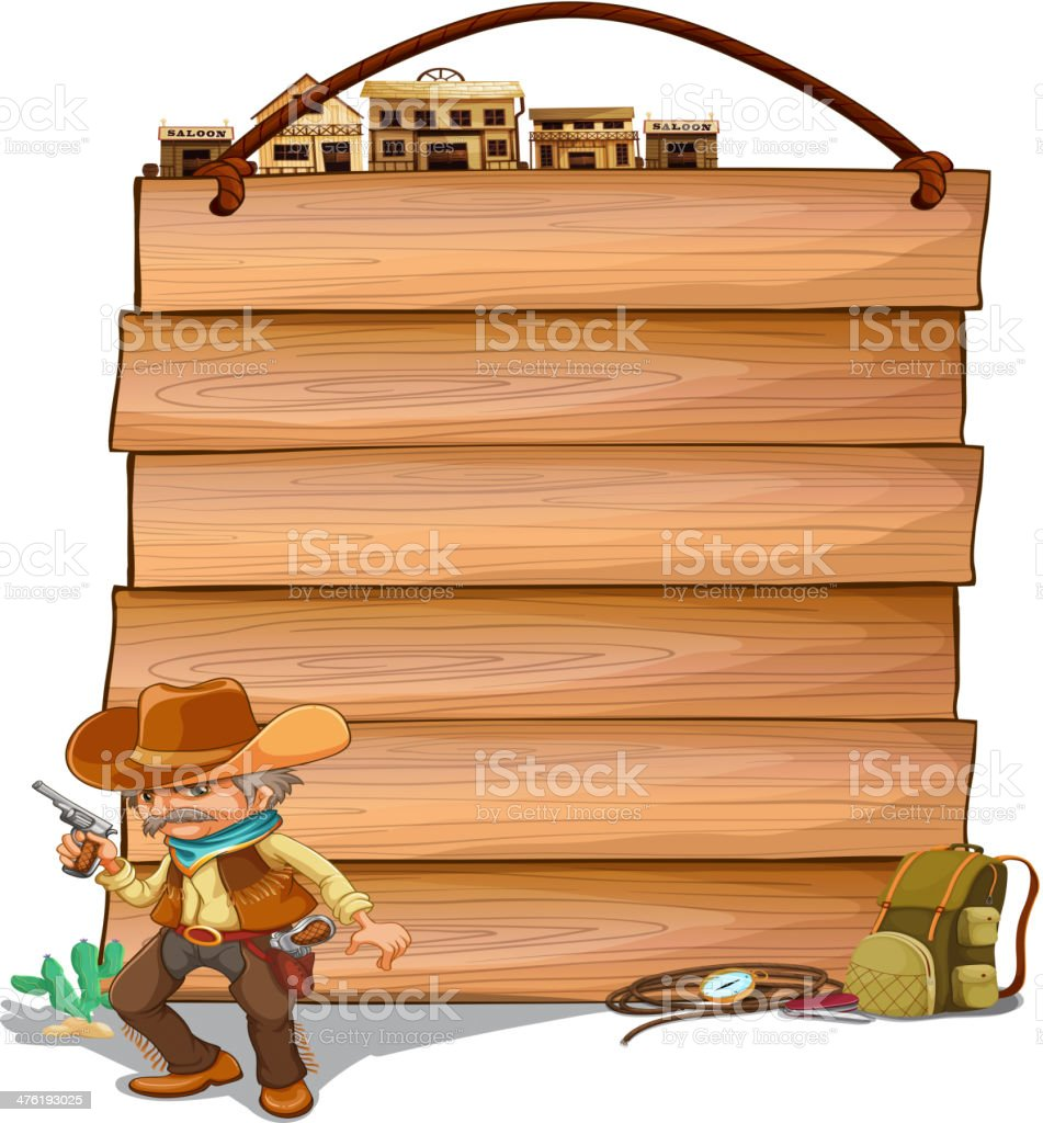 Empty wooden planks with a cowboy royalty-free stock vector art