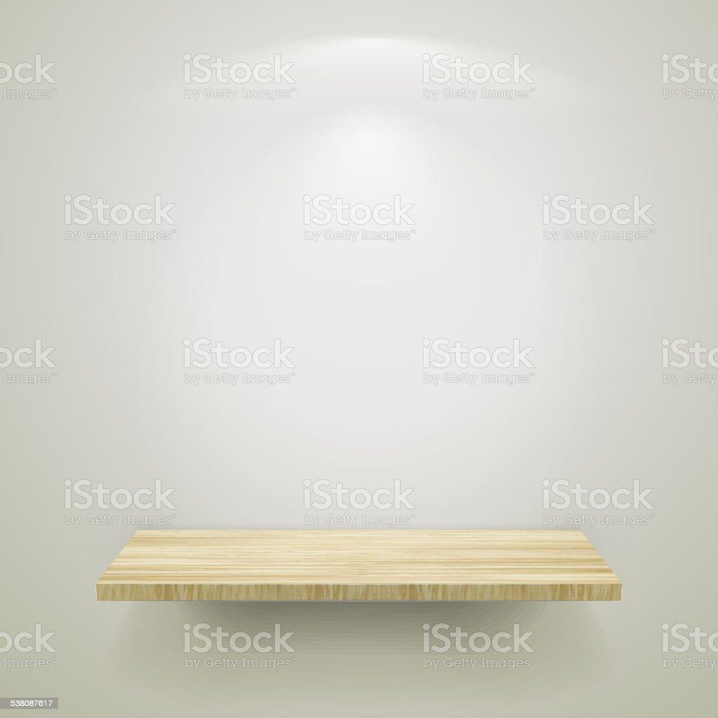 empty wooden shelf for exhibit vector art illustration