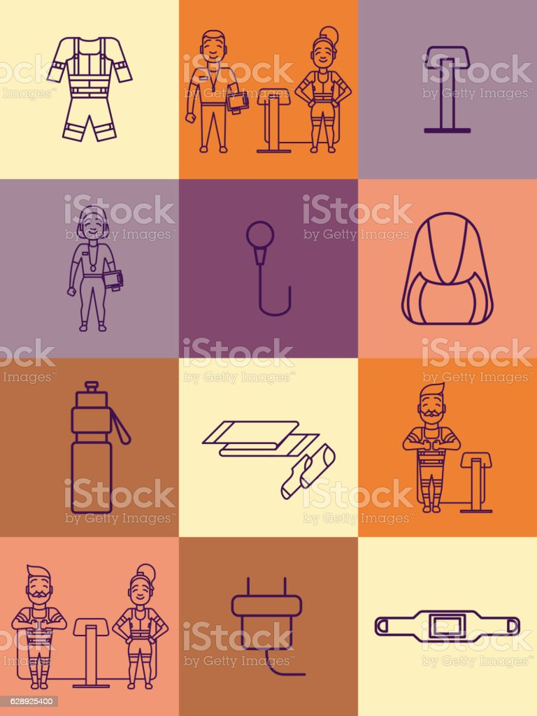 Ems training icons. Electric muscular stimulating fitness symbol vector art illustration