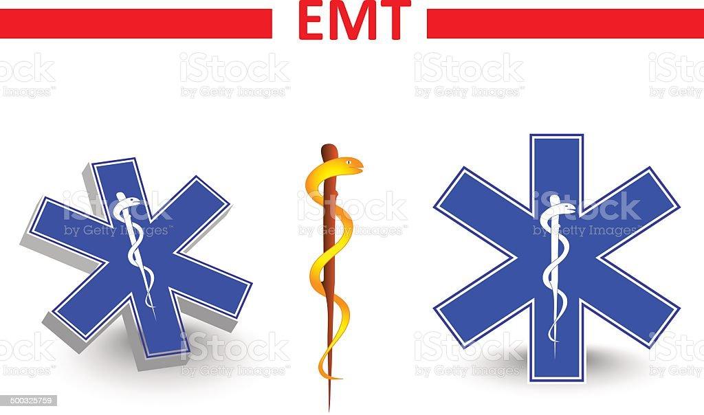 emt. St Andrew's cross and Eskulap vector art illustration