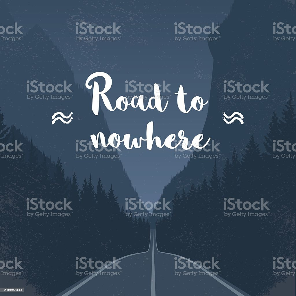Emtpy road to nowhere concept in middle of the forest vector art illustration