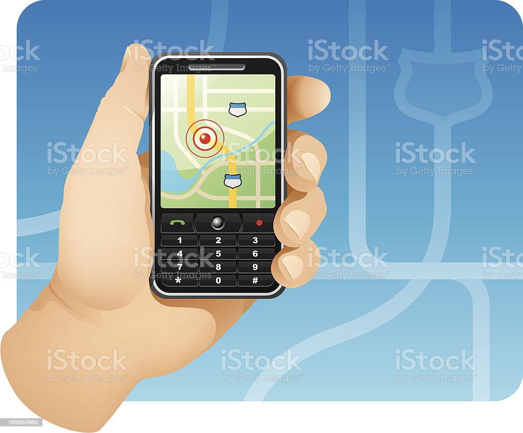 GPS Enabled Mobile Phone royalty-free stock vector art