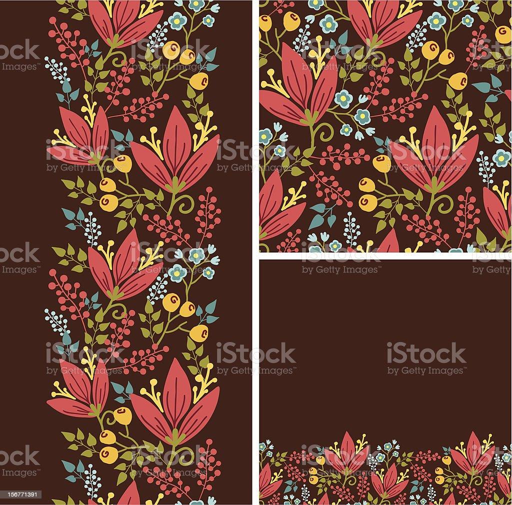 Enchanting Garden Floral Seamless Pattern Set royalty-free stock vector art