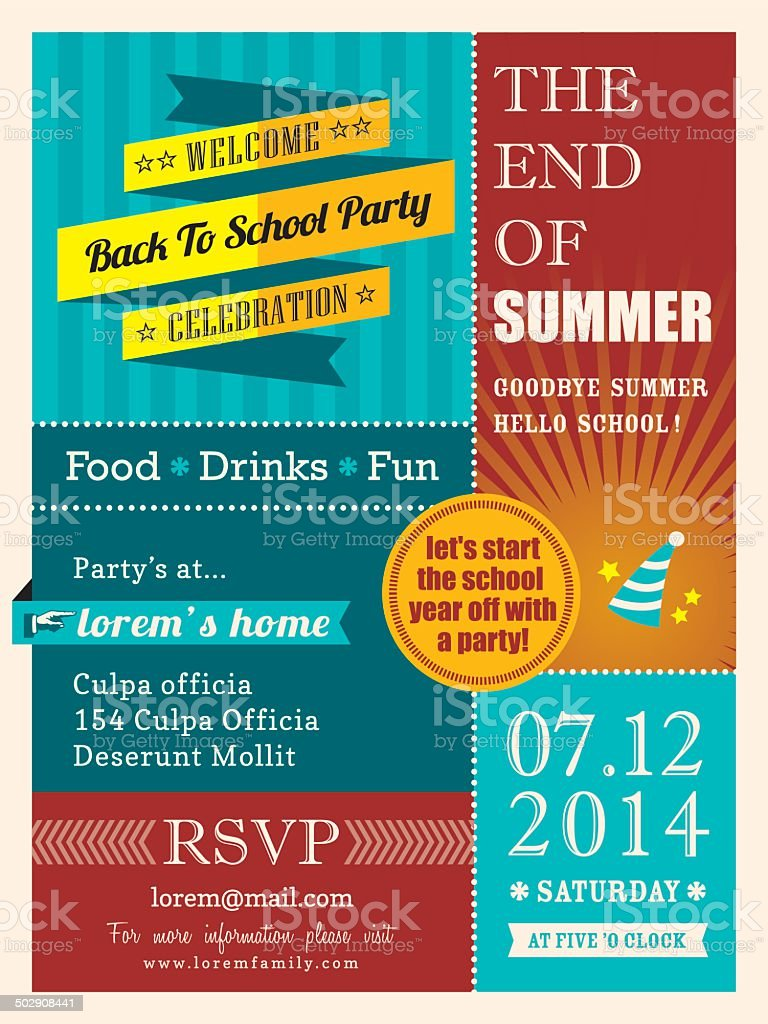 End of summer party poster or card design template layout vector art illustration
