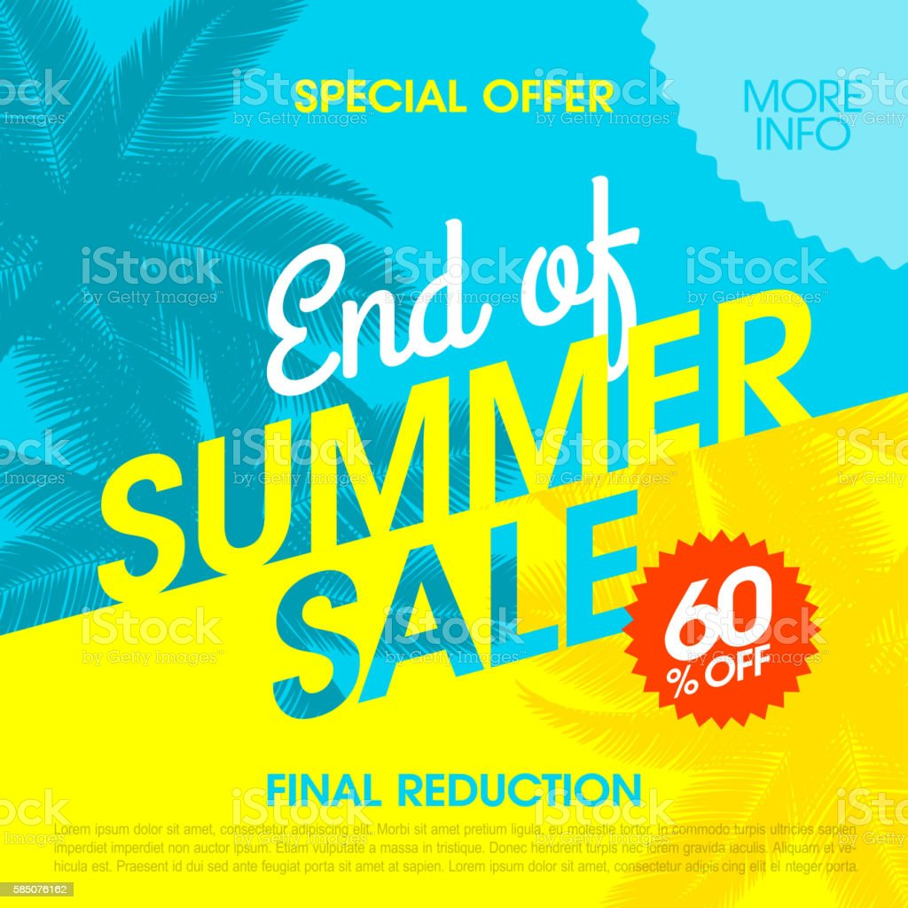 End Of Summer Sale banner vector art illustration