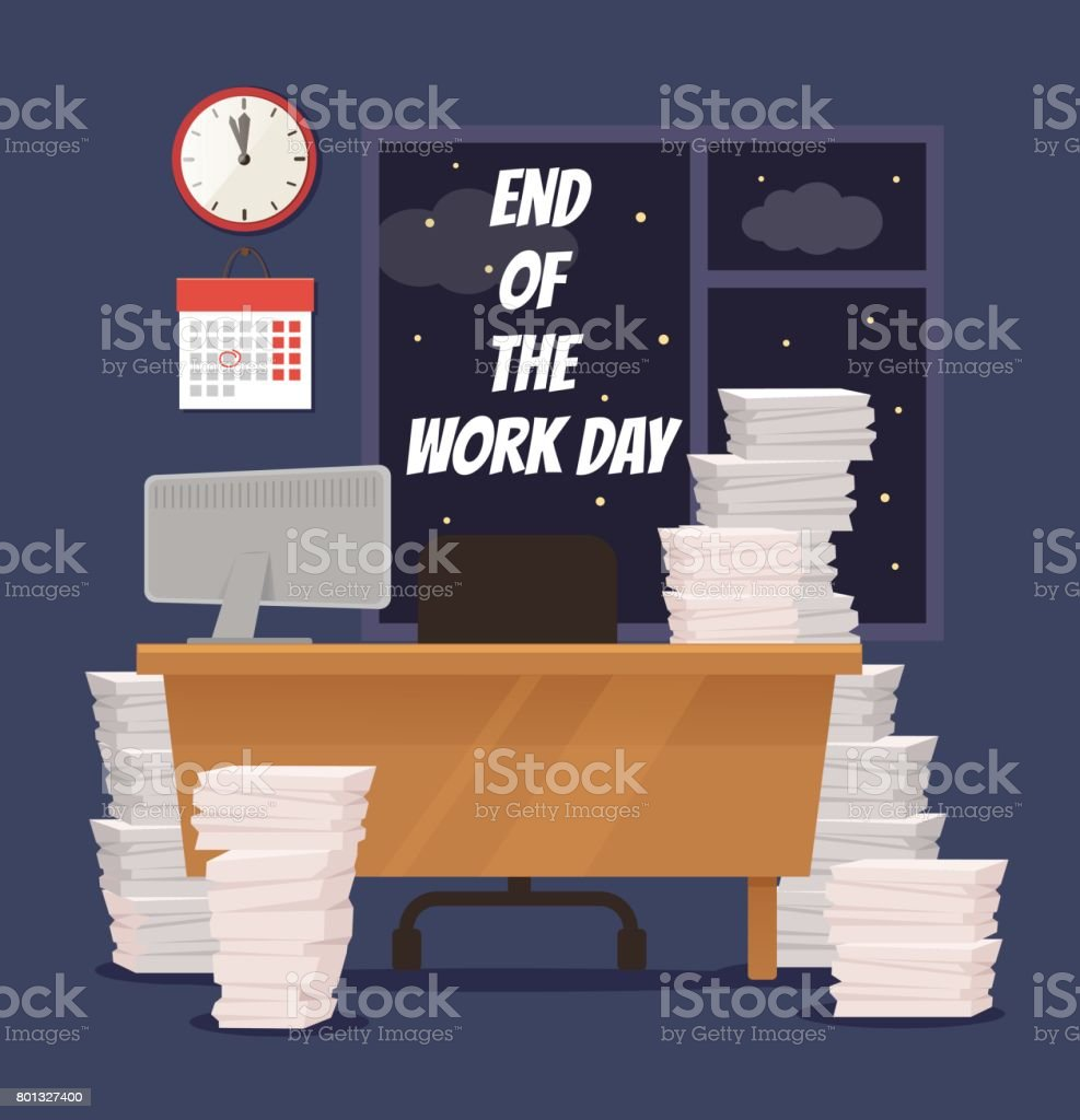 End of the day. Empty office vector art illustration