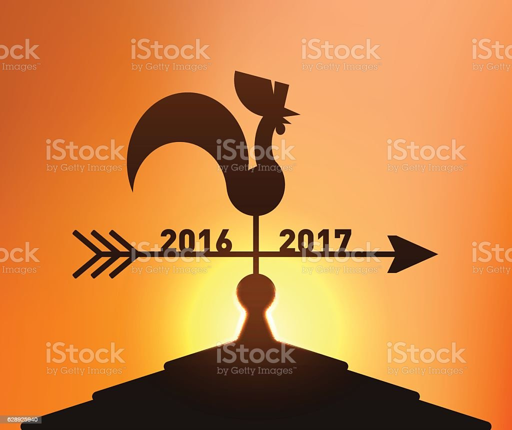 End of Year 2016, Going to New Year 2017 vector art illustration
