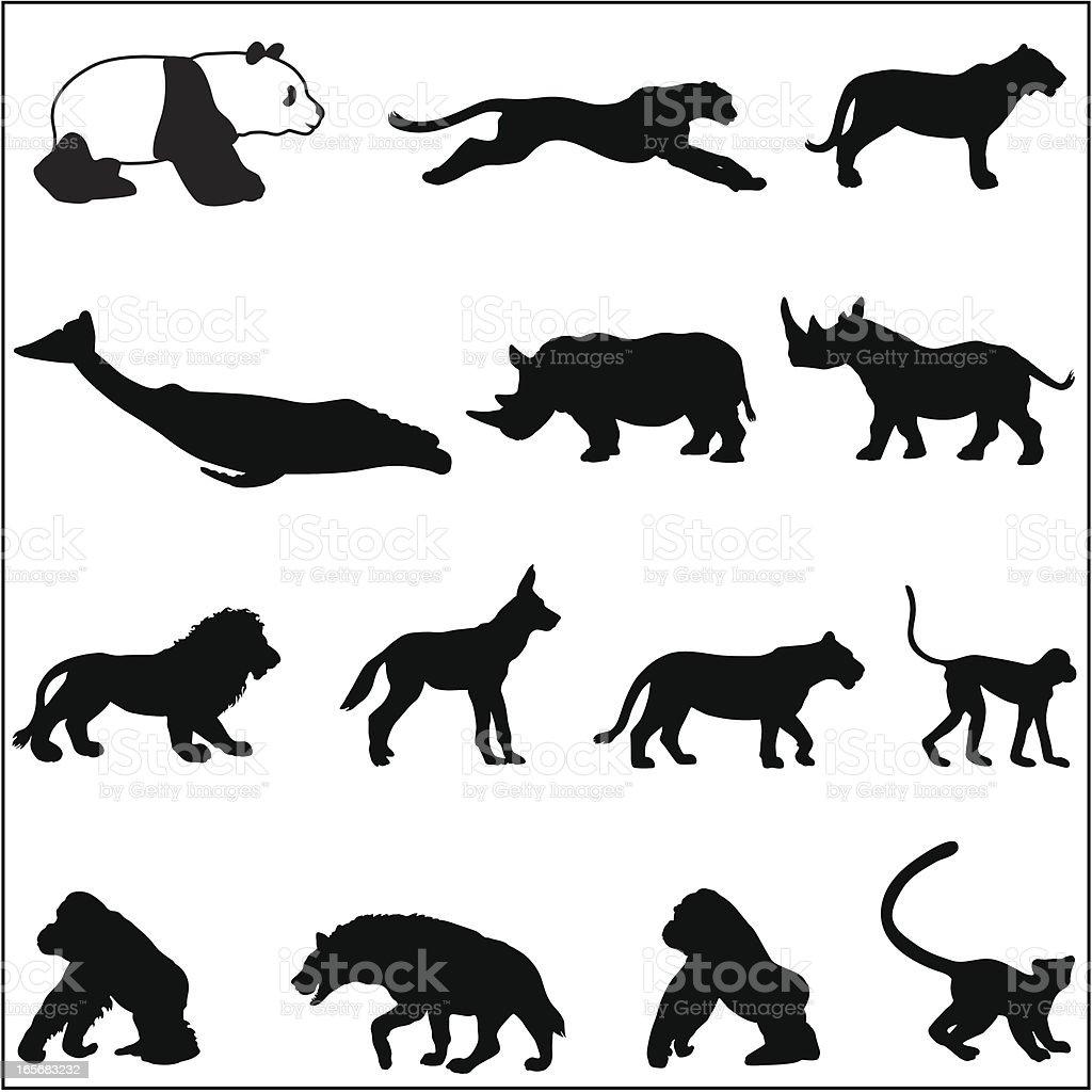 Endangered species silhouettes vector art illustration