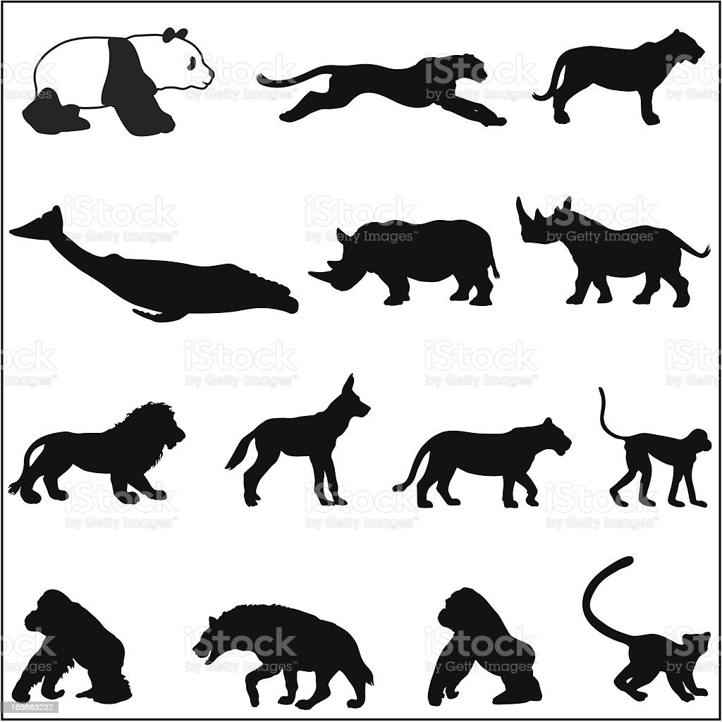 Endangered species silhouettes vector art illustration