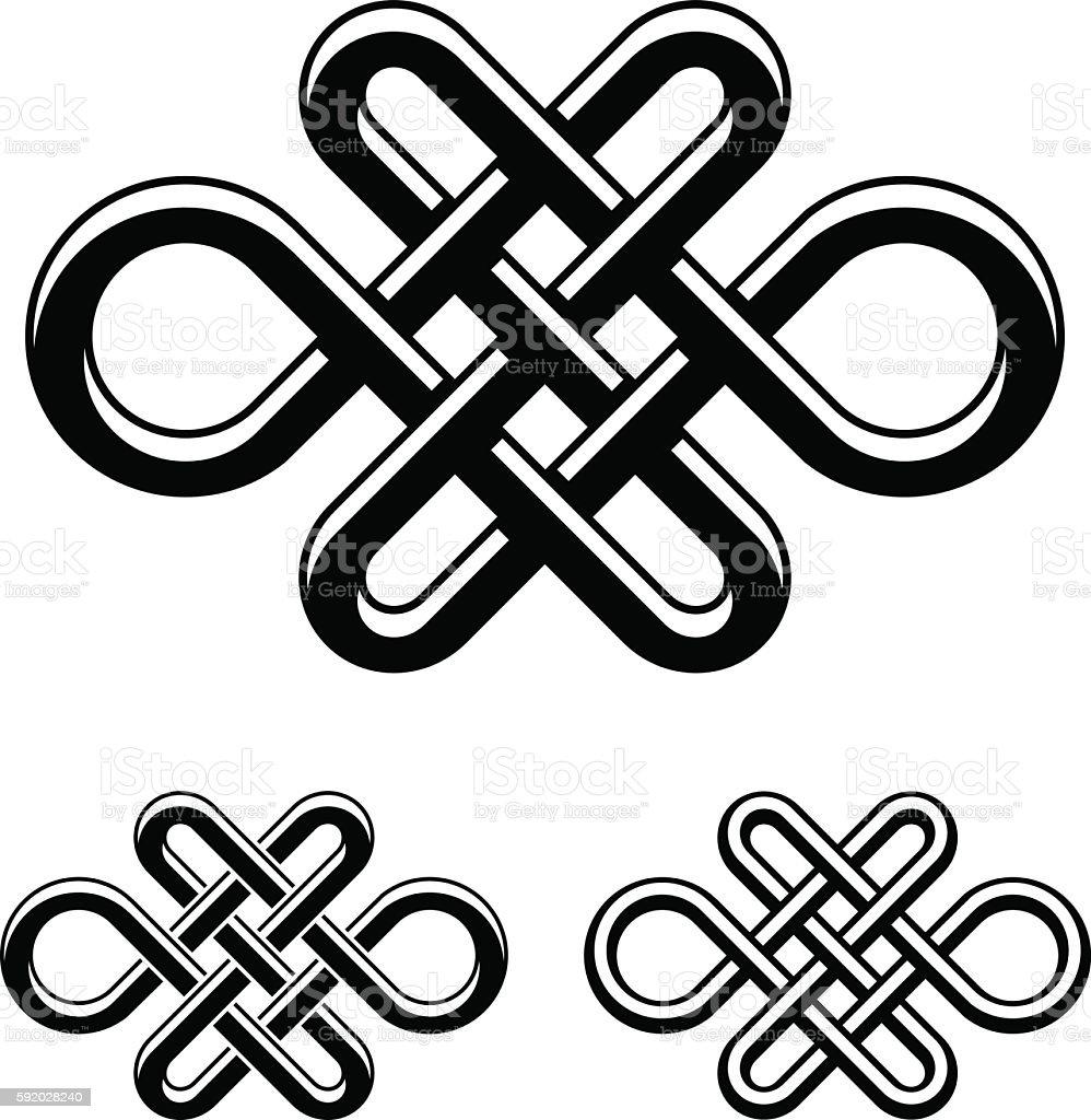 endless celtic knot black white symbol vector art illustration