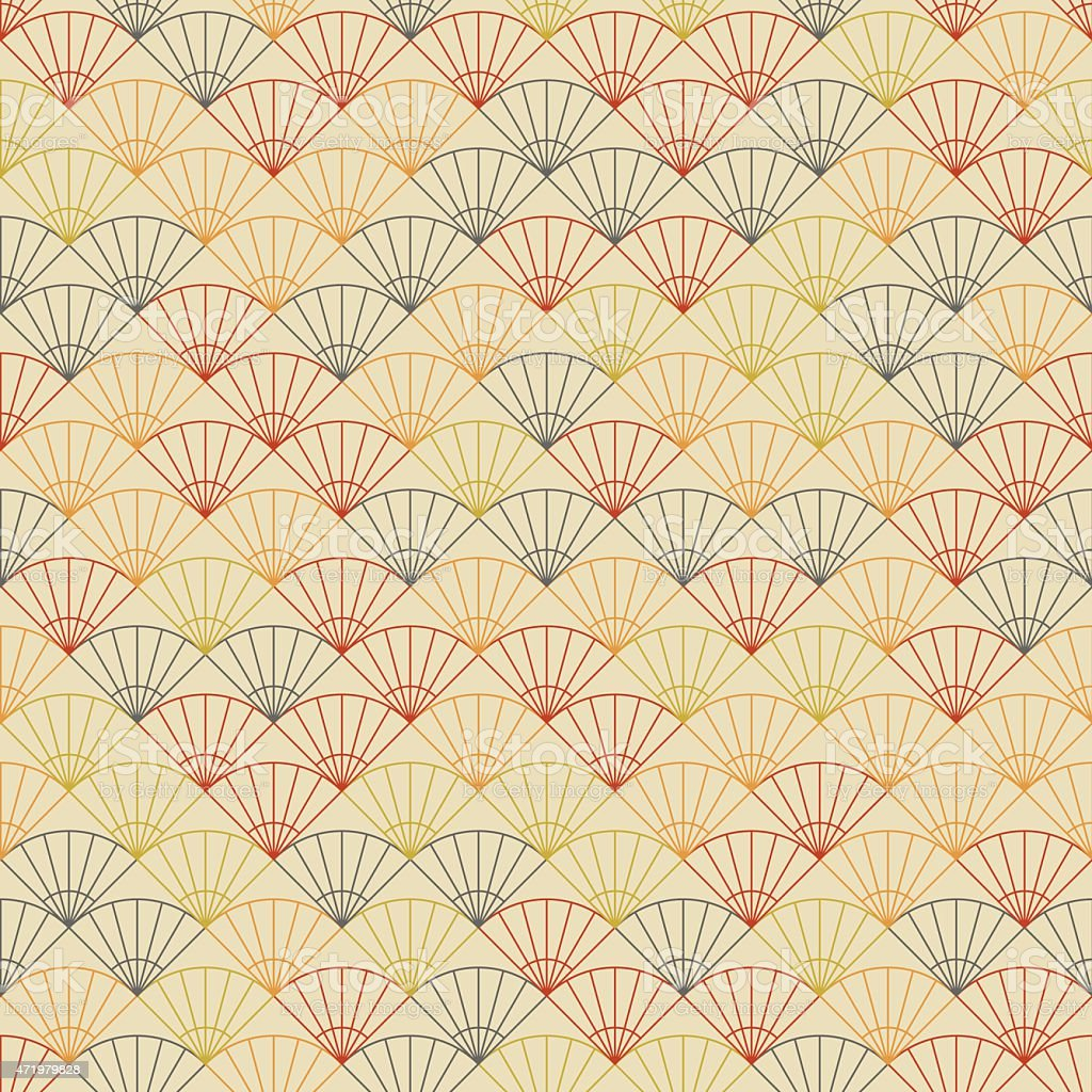 Endless fan pattern. Based on Traditional Japanese Embroidery. vector art illustration