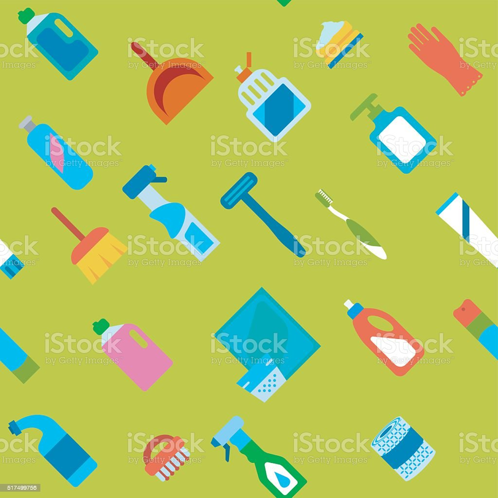 Endless flat hygiene and cleaning background. vector art illustration