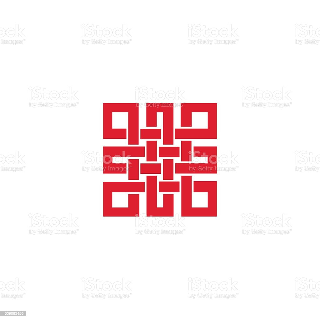 Endless knot sign.Red vector art illustration