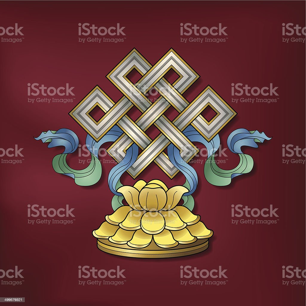 Endless knot / Srivatsa – (Auspicious Buddhist symbol) vector art illustration