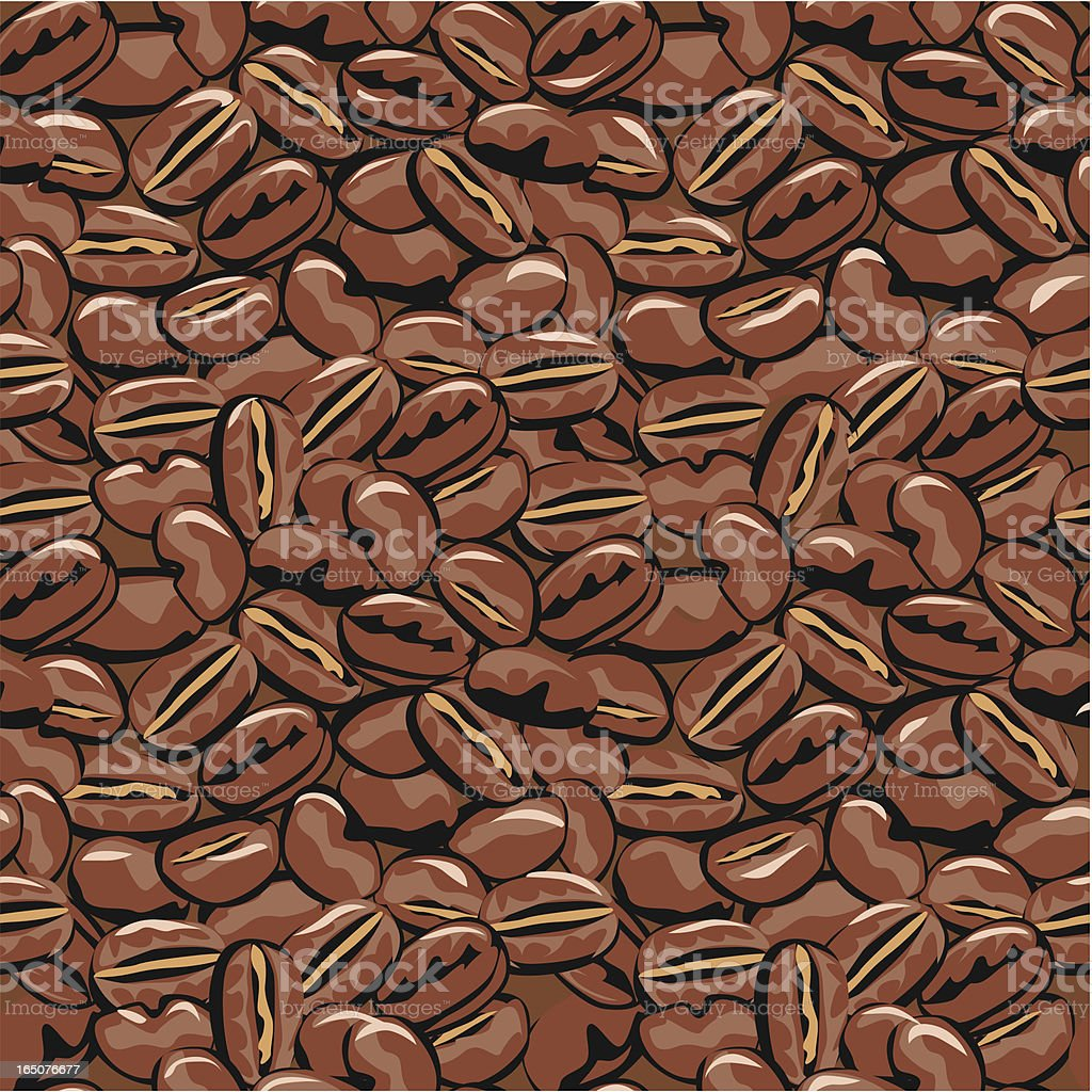 Endless repeating coffee bean pattern royalty-free stock vector art