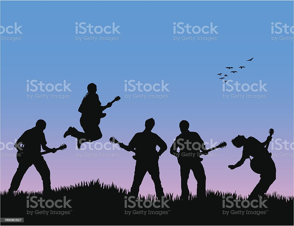 Energetic band with blue sky royalty-free stock vector art