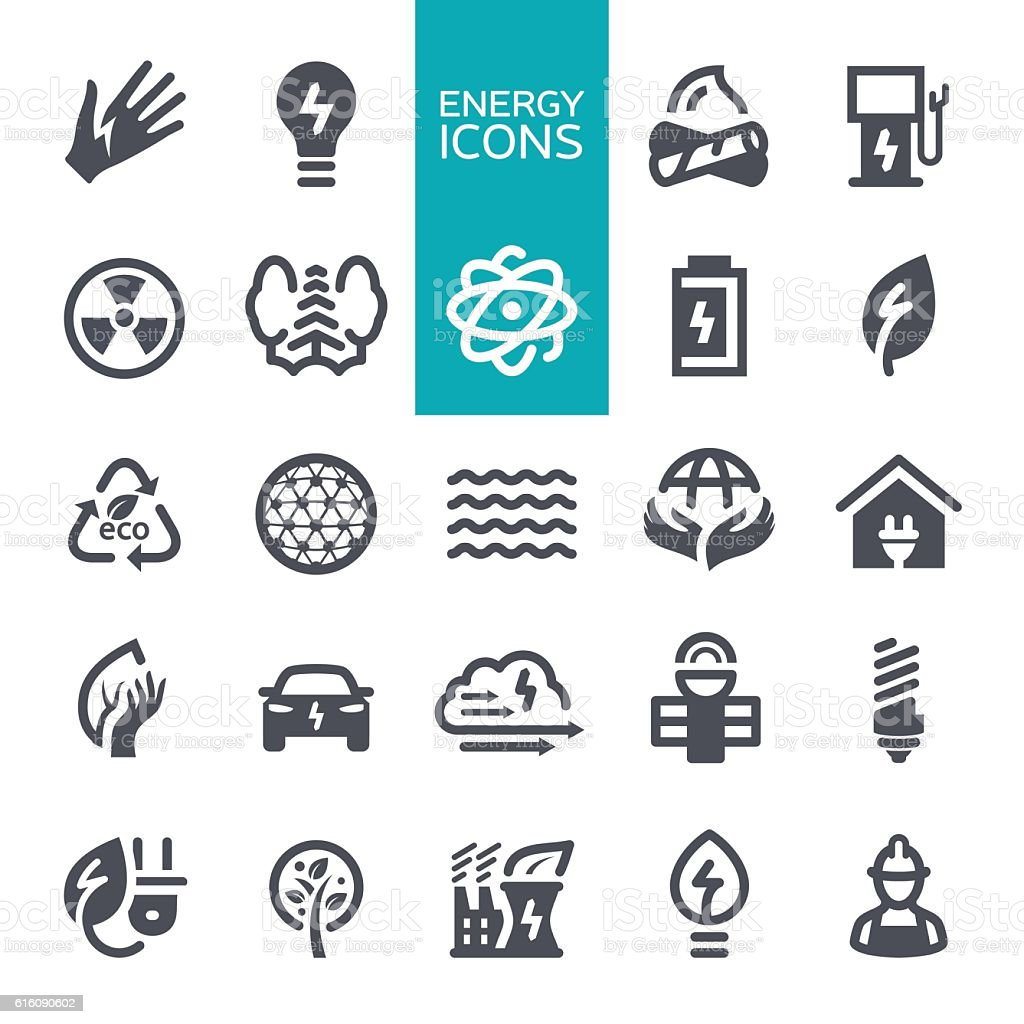 Energy and Eco icons vector art illustration