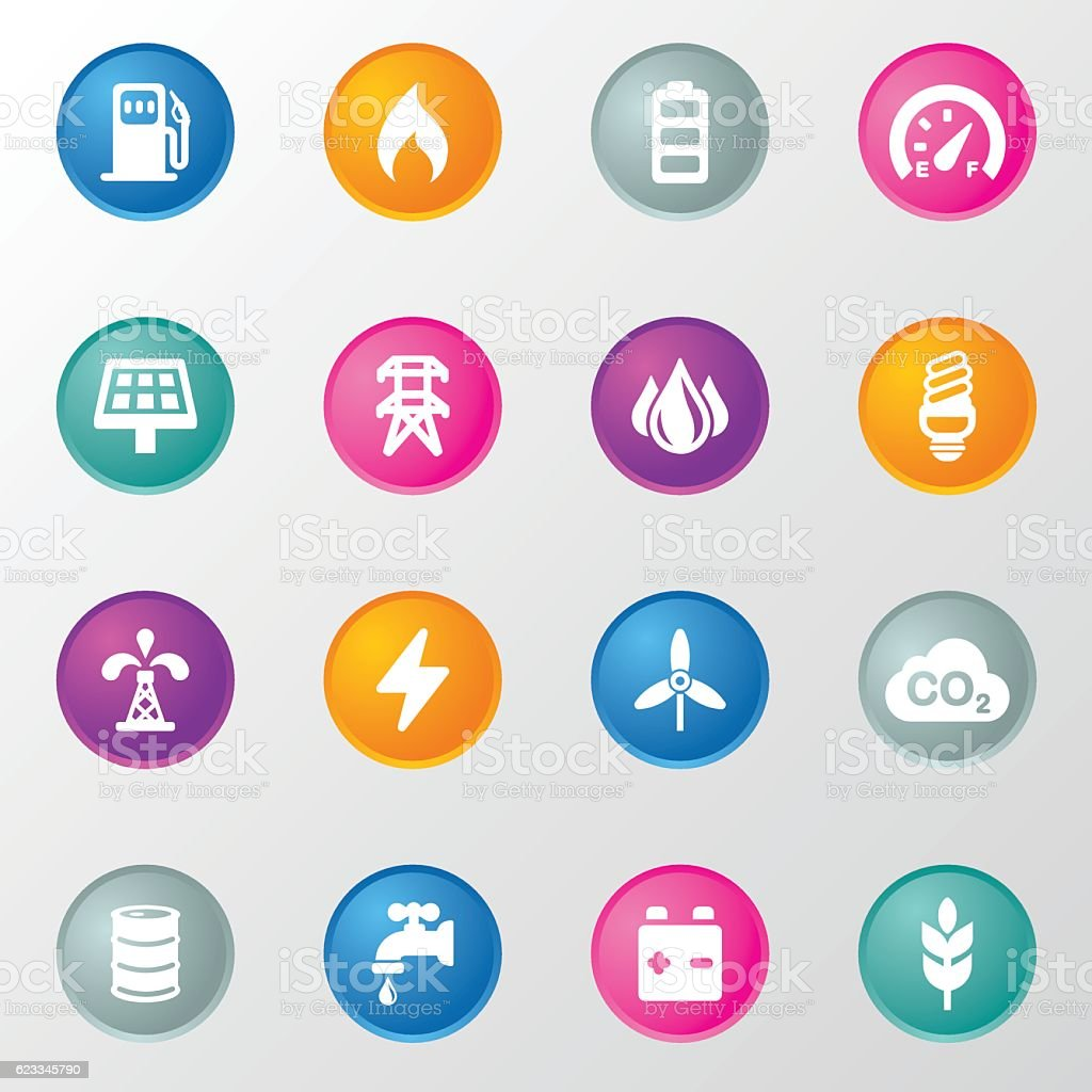 Energy and Ecology Circle Color Icons vector art illustration