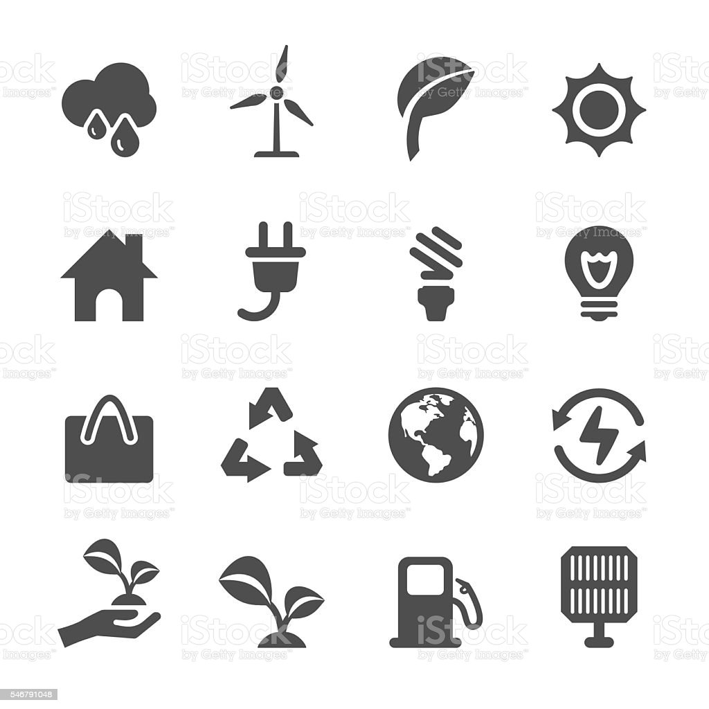 energy and ecology icon set, vector eps10 vector art illustration