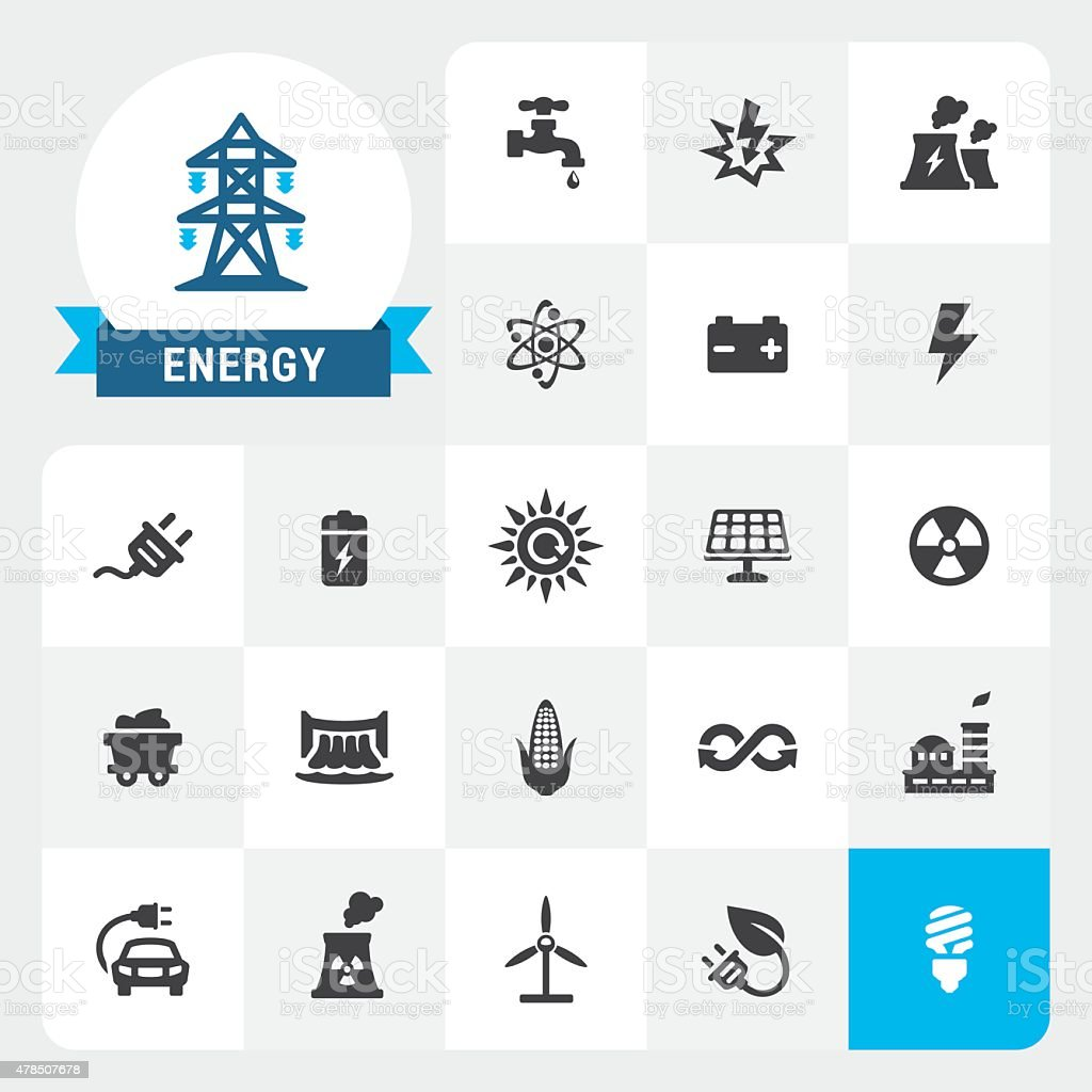 Energy and Electricity base vector icons and label vector art illustration