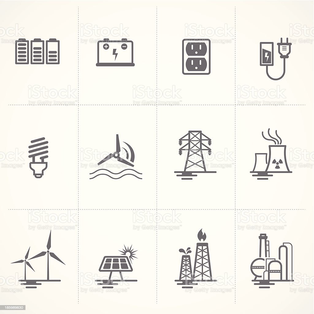Energy and electricity icons set. vector art illustration