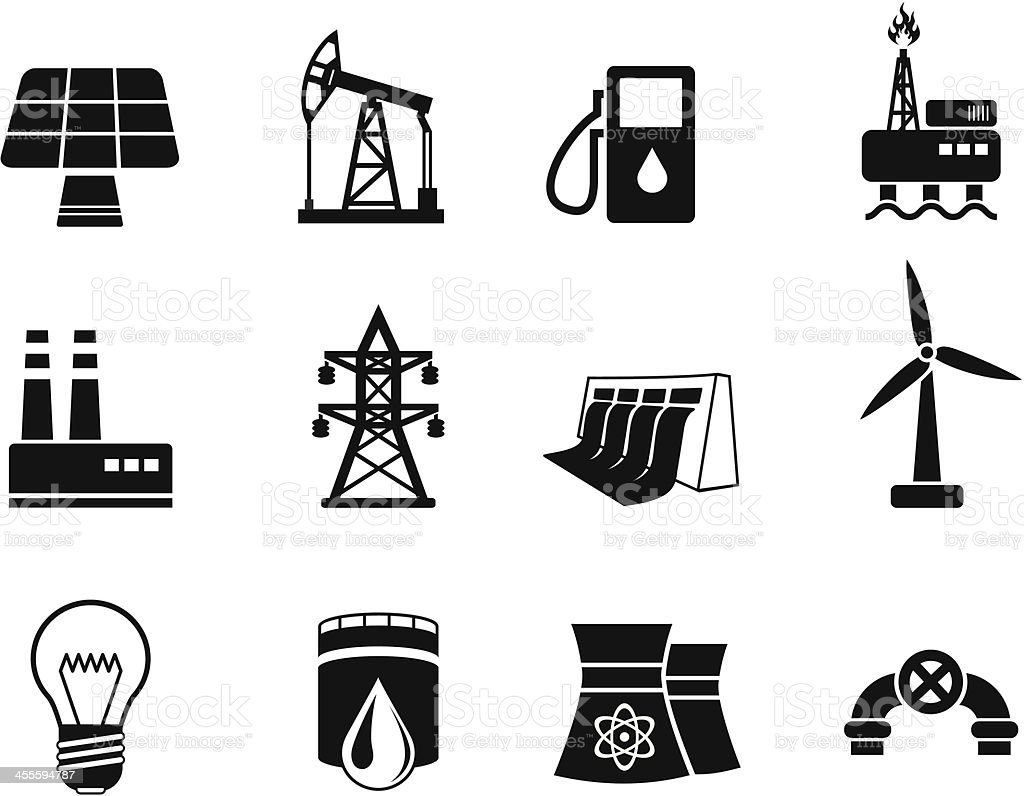 Energy and Industry Icon Set royalty-free stock vector art