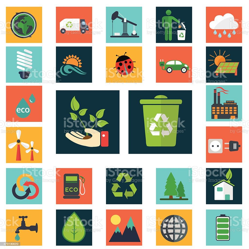 Energy and industry icons set, go green icons vector art illustration
