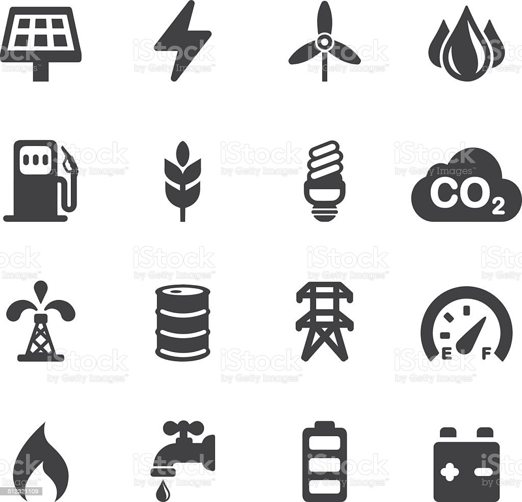 Energy and Industry Silhouette icons | EPS10 vector art illustration