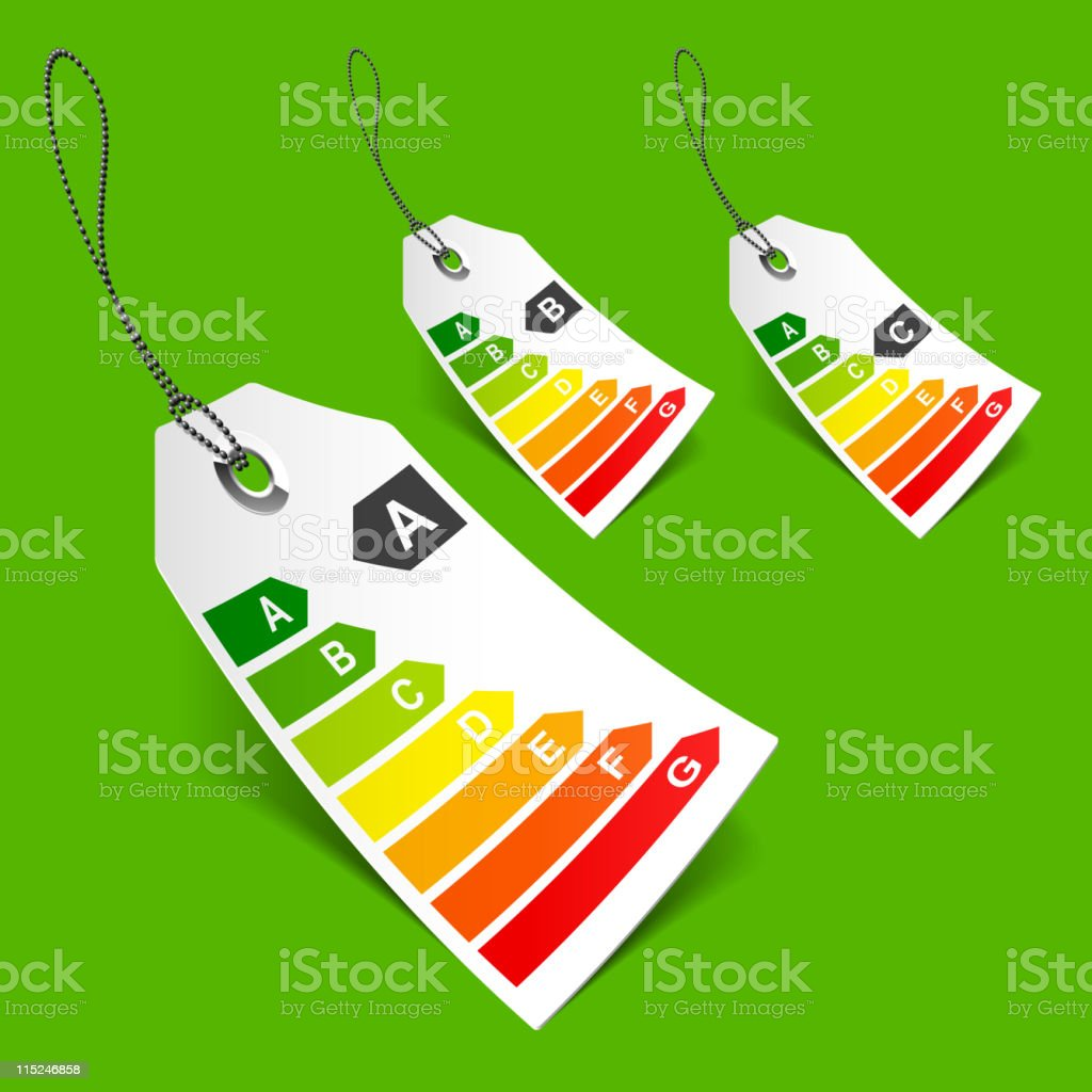Energy classification tags royalty-free stock vector art