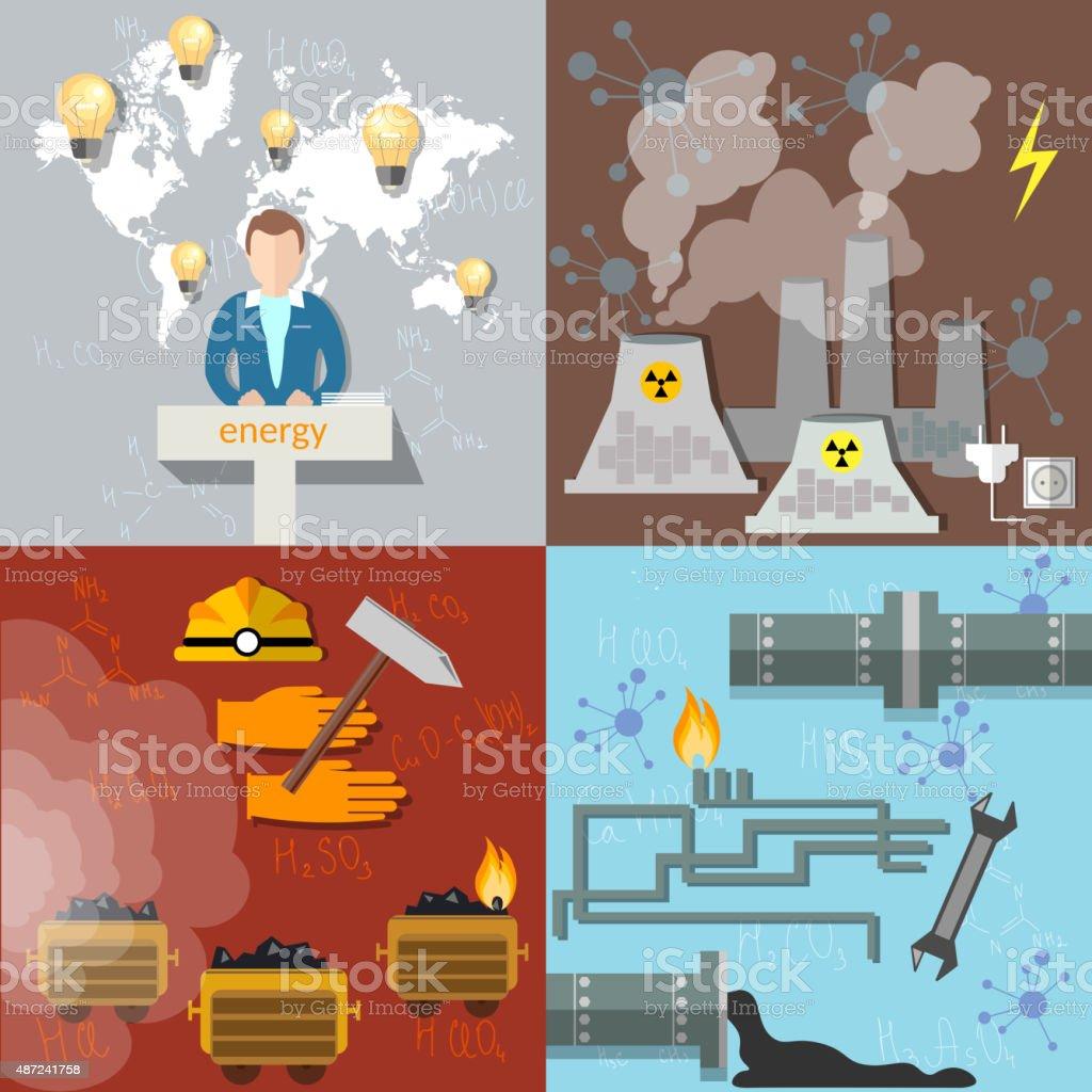 Energy concept, ecology, pollution, petroleum, coal, icon set vector art illustration