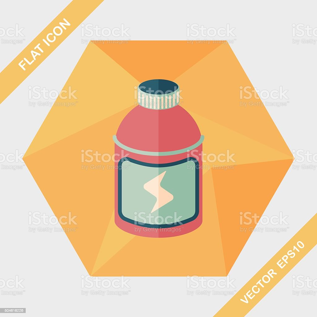 energy drinks flat icon with long shadow,eps10 vector art illustration