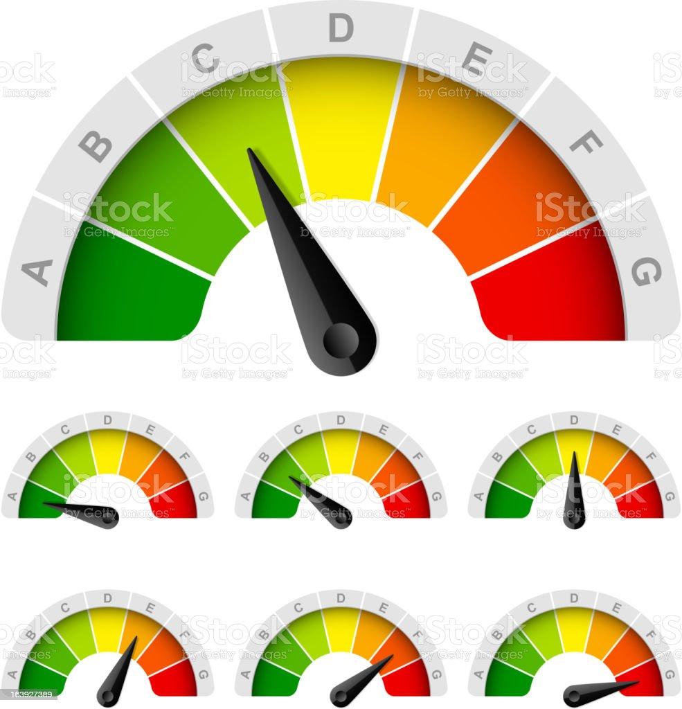 Energy efficiency rating vector art illustration