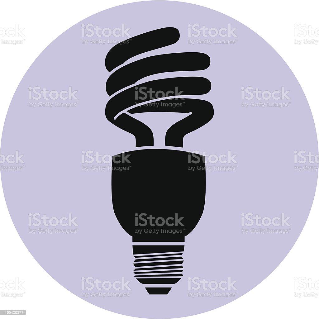 energy efficient light bulb black on purple circle vector art illustration
