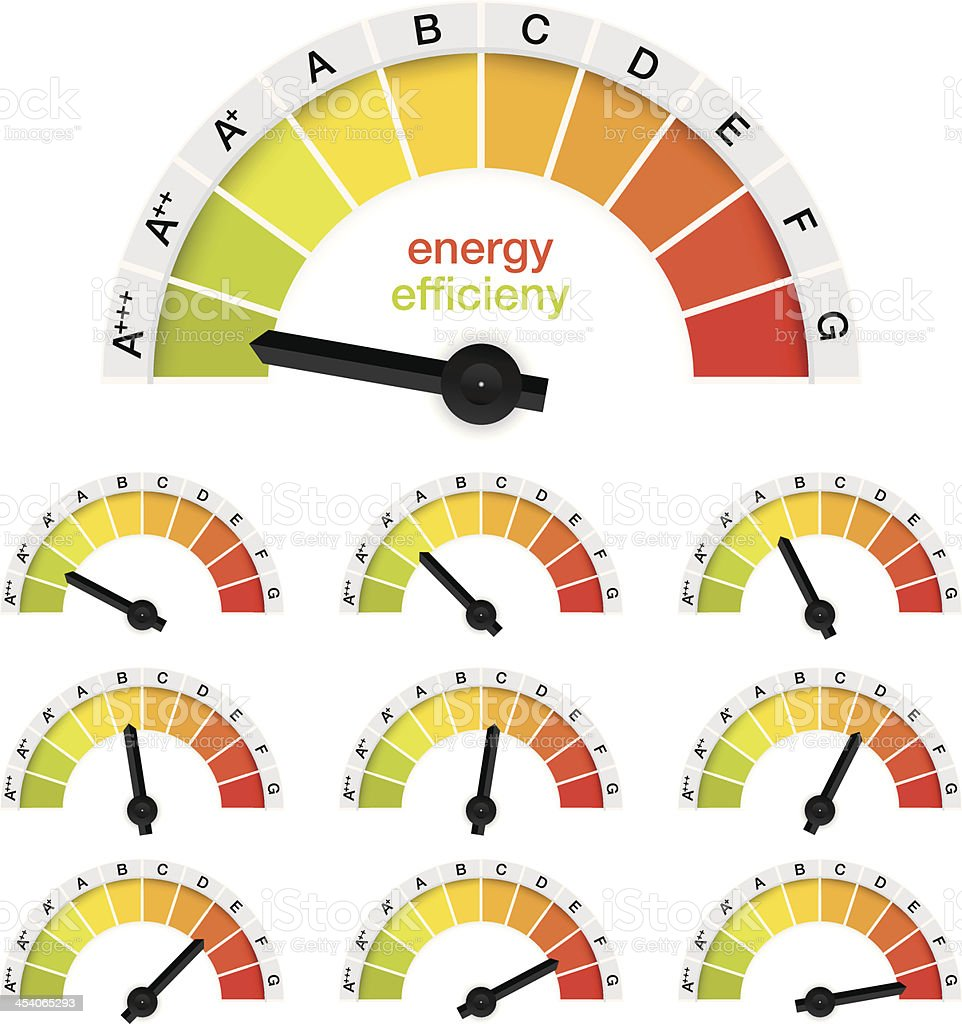 energy efficieny diagram or gauge vector art illustration