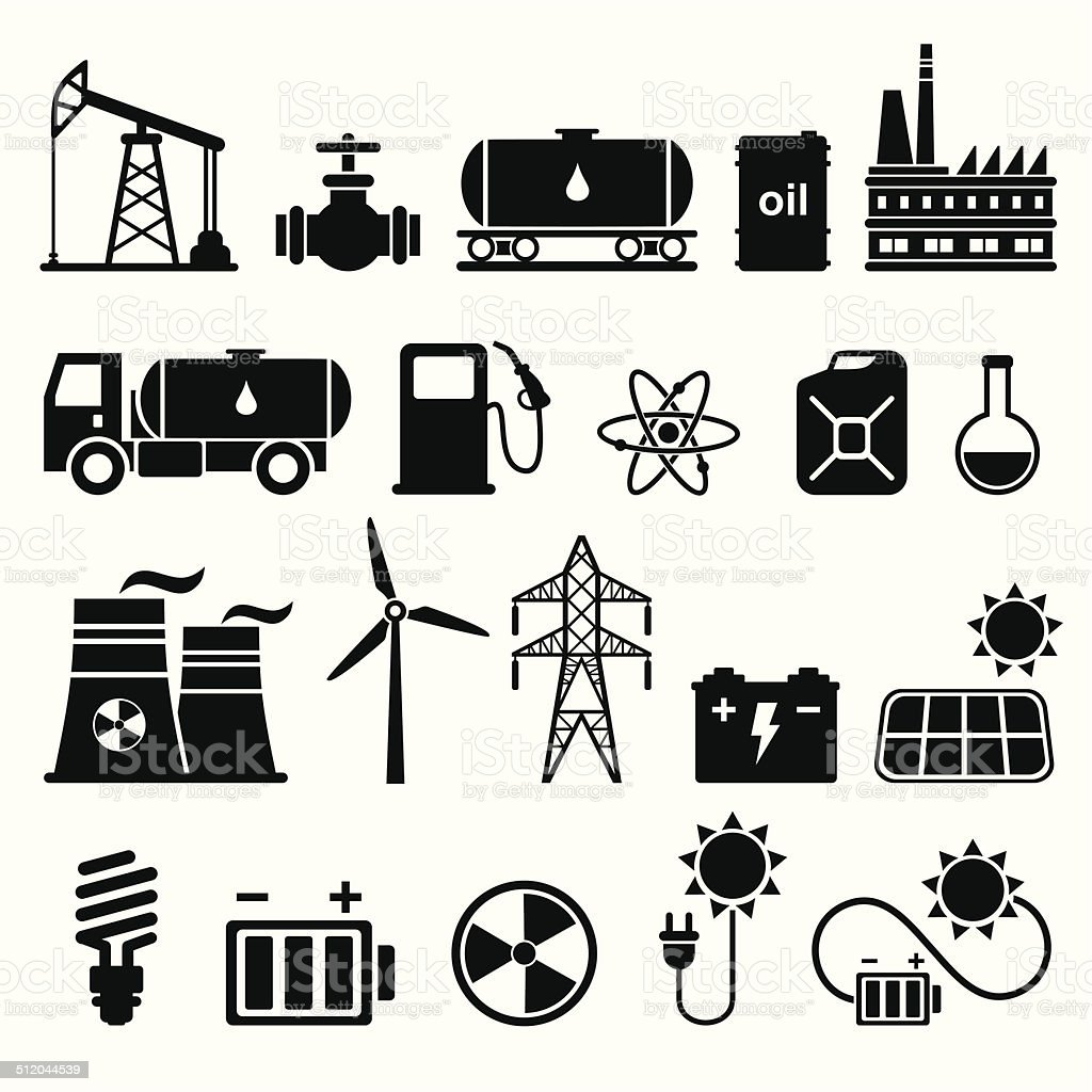 Energy, electricity, power icon set vector art illustration