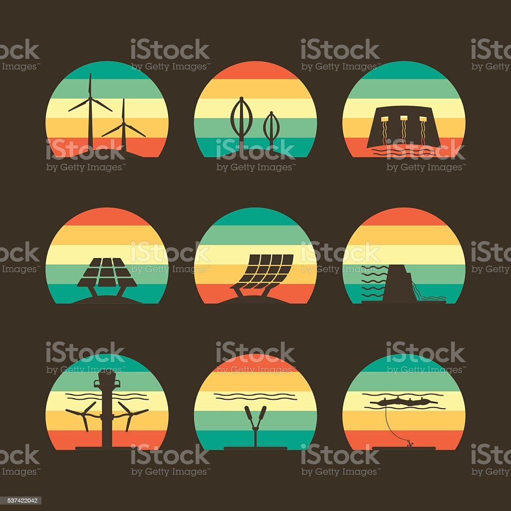 energy icon with abstract color vector art illustration