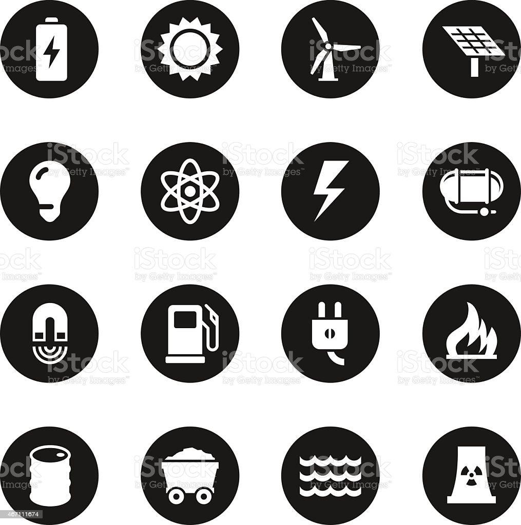 Energy Icons - Black Circle Series vector art illustration