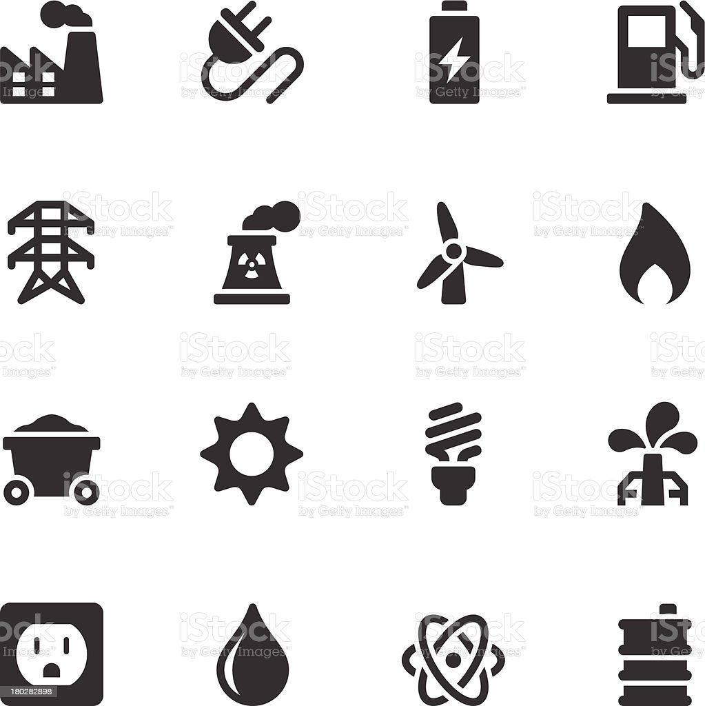 Energy Icons - Black Series vector art illustration