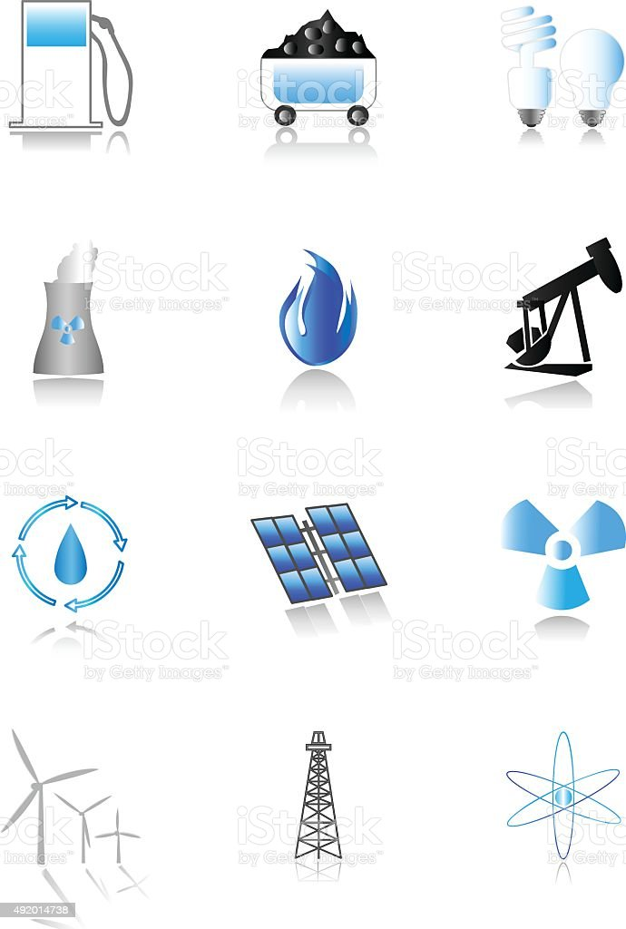 Energy Icons - Blue Themed vector art illustration