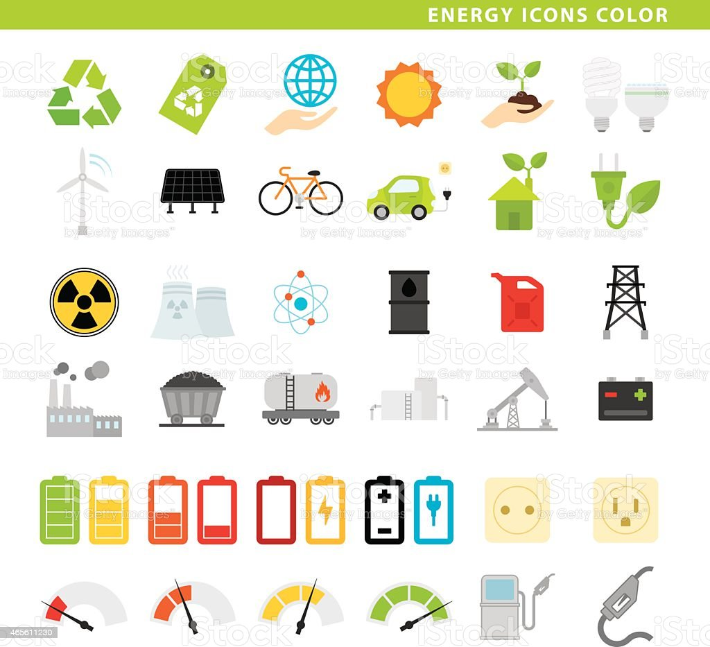 Energy icons color. vector art illustration