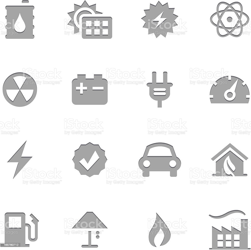 Energy Icons | Letterpress Series royalty-free stock vector art