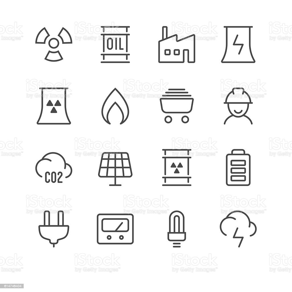 Energy icons set 1 | Black Line series vector art illustration