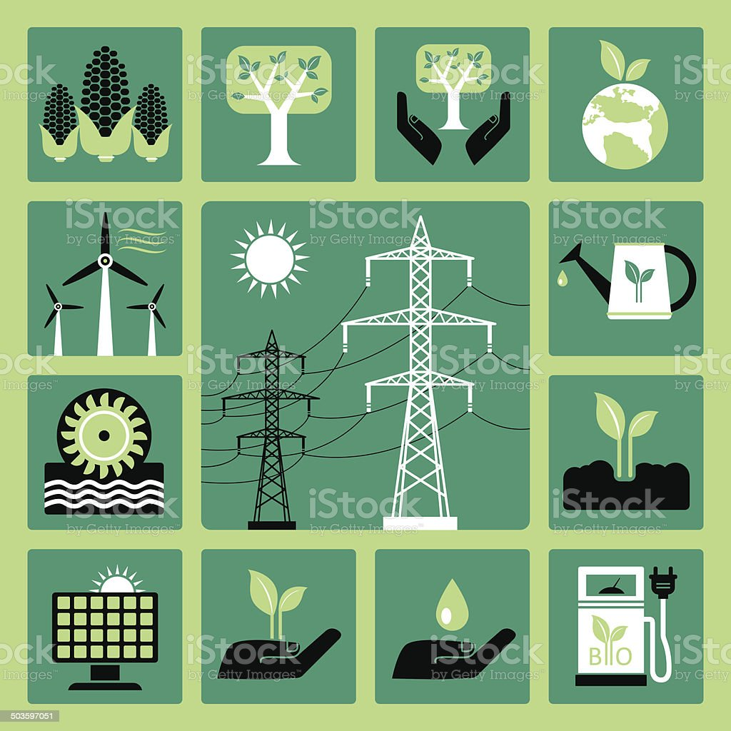 Energy icons vector art illustration