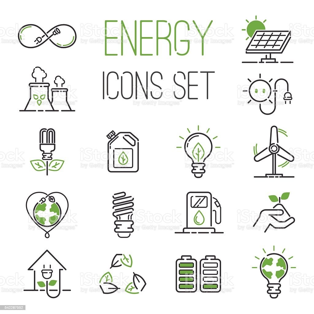 Energy icons vector set. vector art illustration