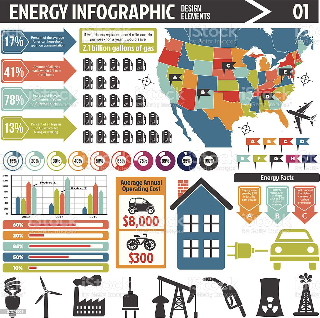Energy infographic design elements vector art illustration